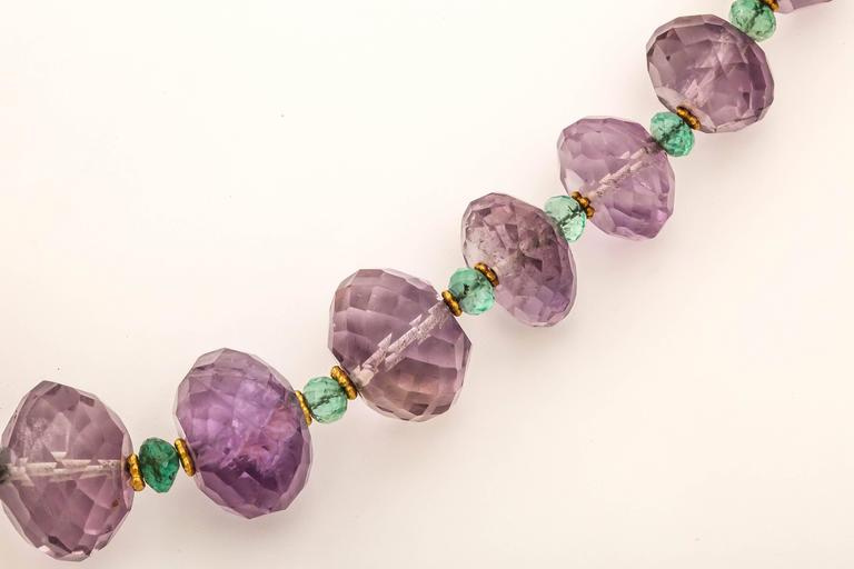 Women's Amethyst Emerald Gold Bead Necklace For Sale