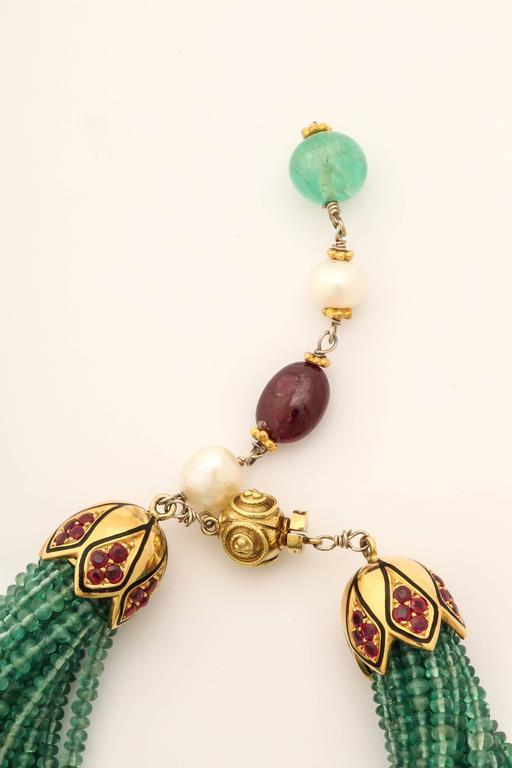 Artisan Unique Emerald Bead Bracelet For Sale