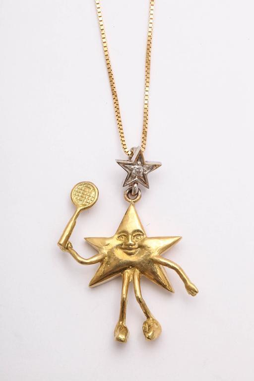 Artisan Charming Diamond Gold Celestial Tie Tacks or Pendants For Sale