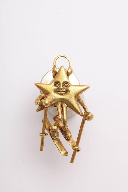 Charming Diamond Gold Celestial Tie Tacks or Pendants In New Condition For Sale In TRYON, NC