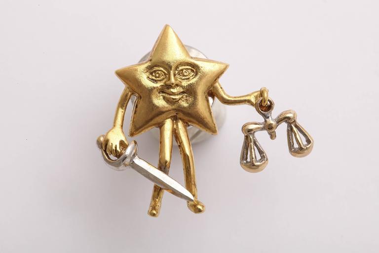 Women's or Men's Charming Diamond Gold Celestial Tie Tacks or Pendants For Sale