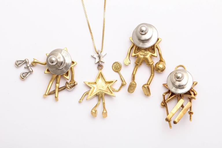 Charming Diamond Gold Celestial Tie Tacks or Pendants For Sale 1