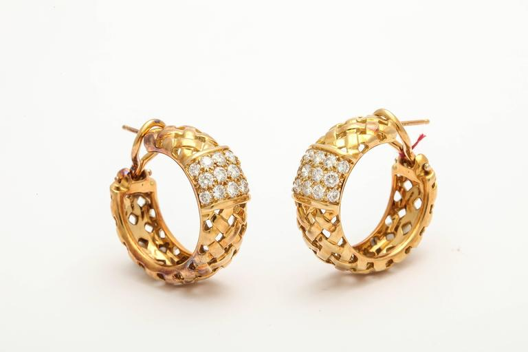 Tiffany And Co Diamond Gold Basket Weave Design Hoop Earrings At