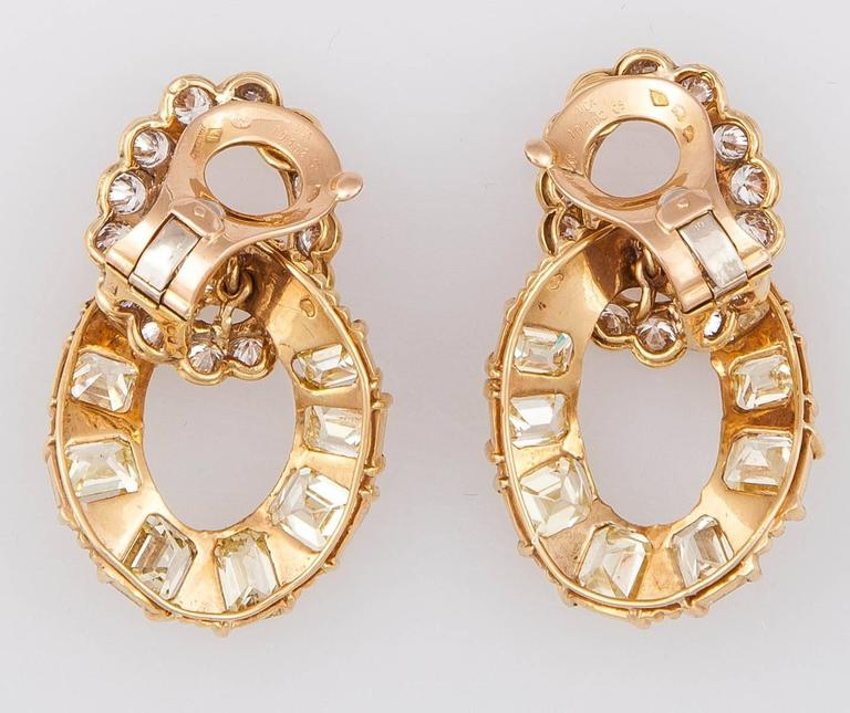 Van Cleef & Arpels Yellow and White Diamond Gold Earrings 2