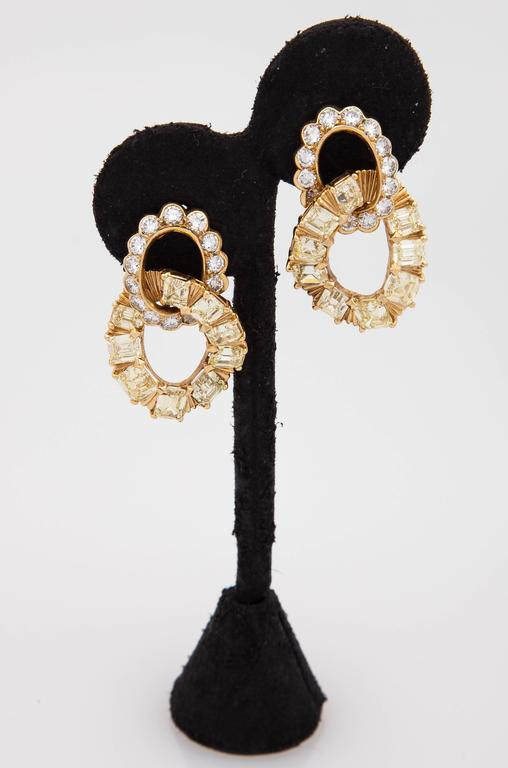 Van Cleef & Arpels Yellow and White Diamond Gold Earrings 3