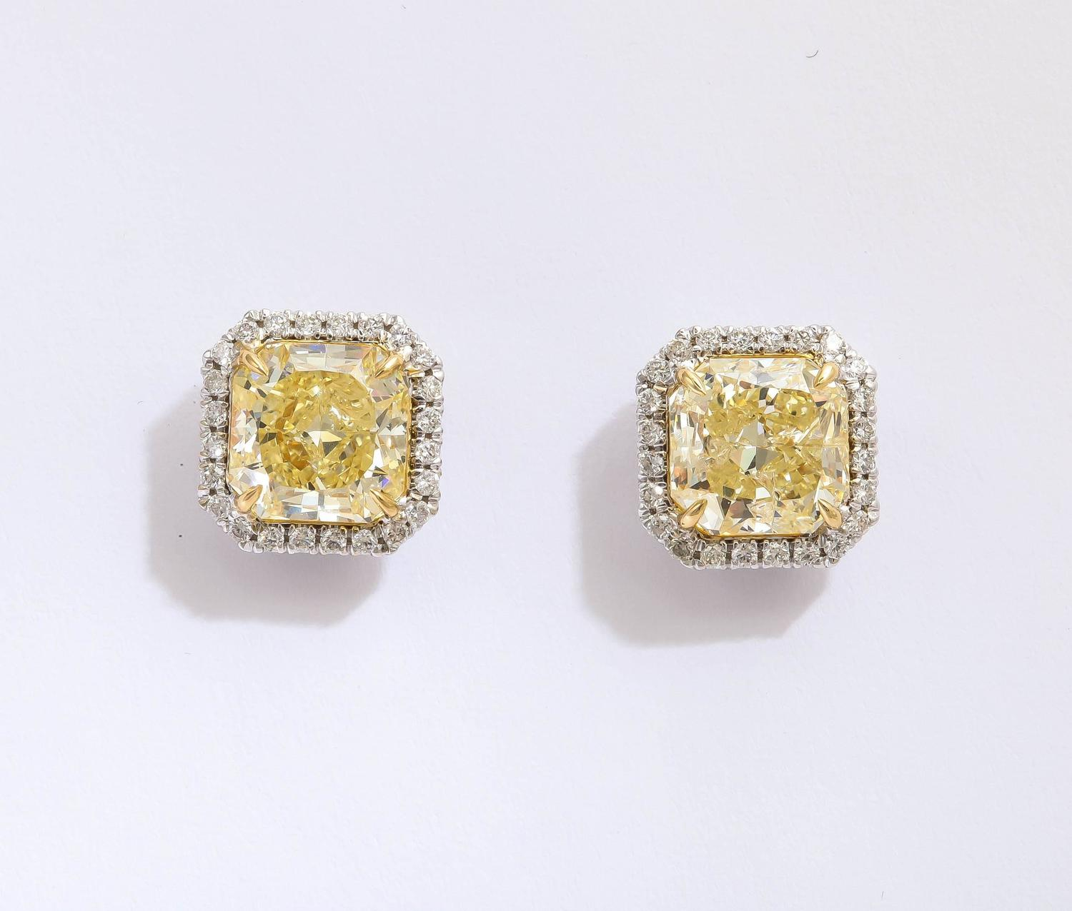 Amazing Yellow And White Diamond Earring Studs For Sale At