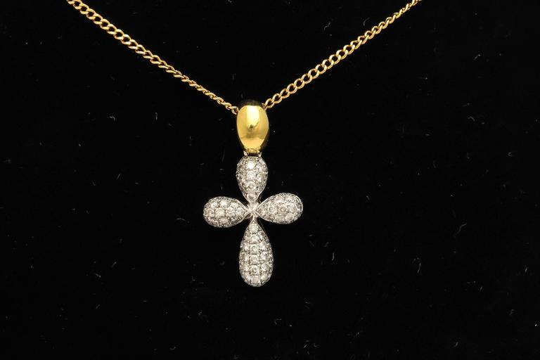 Diamond Gold Cross Pendant on Chain 2