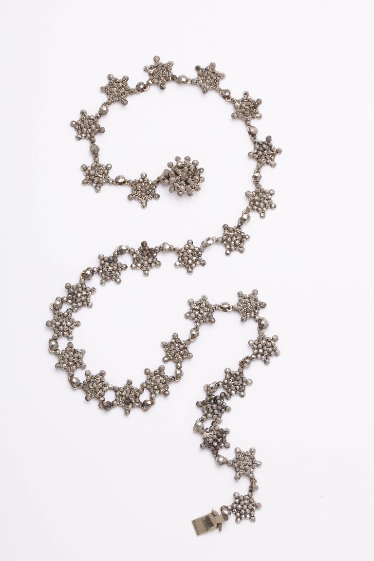 Antique Georgian Cut Steel Star Necklace In Excellent Condition For Sale In Stamford, CT