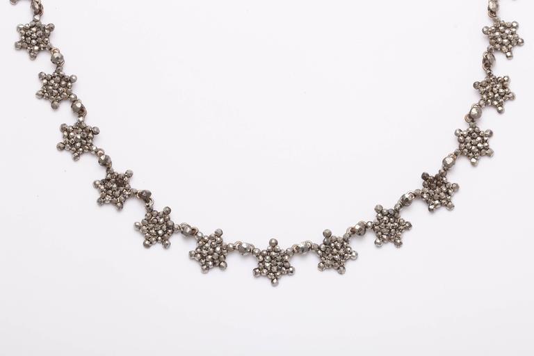 Women's Antique Georgian Cut Steel Star Necklace For Sale