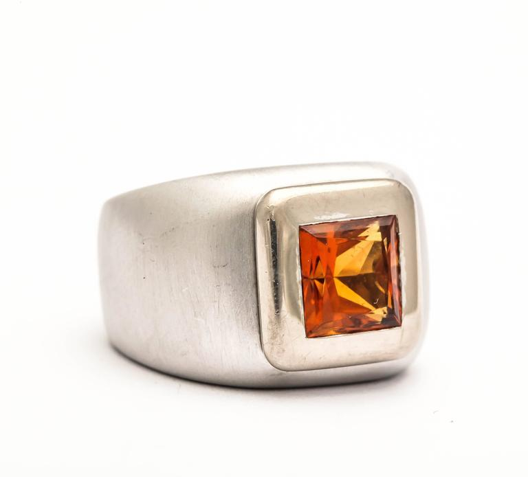 Heavy 18t White Gold Square cut Citrine Ring.  Marked 750.  Great Uni-sex Pinky Ring full of style.  Matte finish.