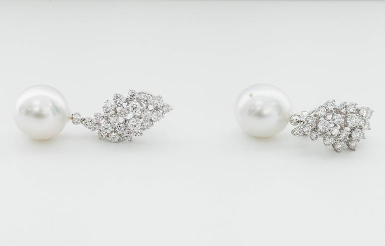 7adf8fbc4 Contemporary Diamond Cluster and Pearl Dangle Earrings For Sale