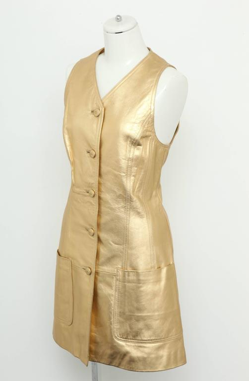 Vintage Chanel Gold Leather Vest Dress with CC Buttons 1980's In Excellent Condition In Chicago, IL