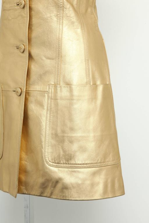 Women's Vintage Chanel Gold Leather Vest Dress with CC Buttons 1980's