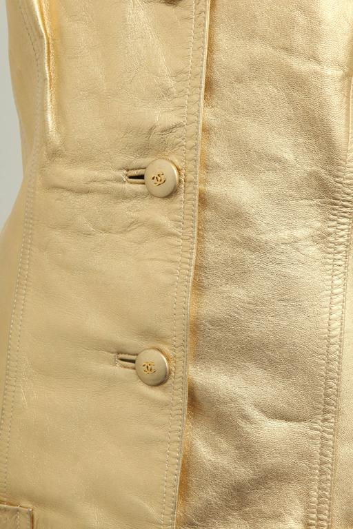 Vintage Chanel Gold Leather Vest Dress with CC Buttons 1980's 1