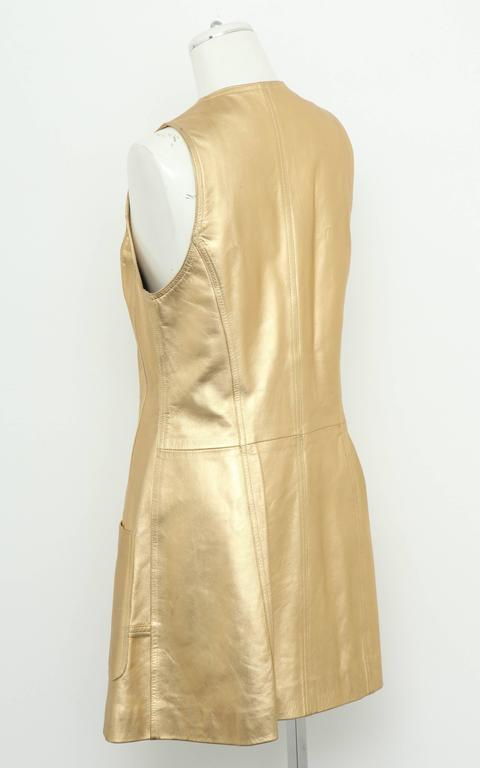 Vintage Chanel Gold Leather Vest Dress with CC Buttons 1980's 3