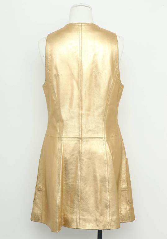 Vintage Chanel Gold Leather Vest Dress with CC Buttons 1980's 4