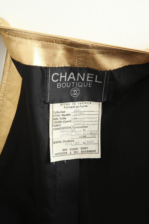 Vintage Chanel Gold Leather Vest Dress with CC Buttons 1980's 5