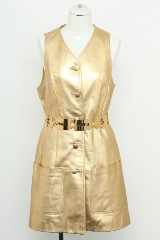 Vintage Chanel Gold Leather Vest Dress with CC Buttons 1980's 6