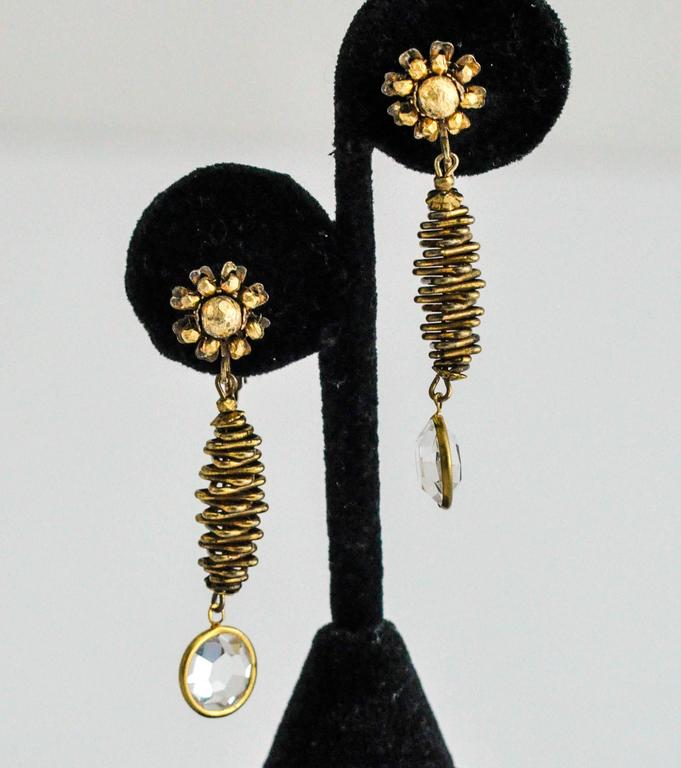 Vintage Miriam Haskell Clip Earrings with Crystal Drop In Good Condition For Sale In Winnetka, IL