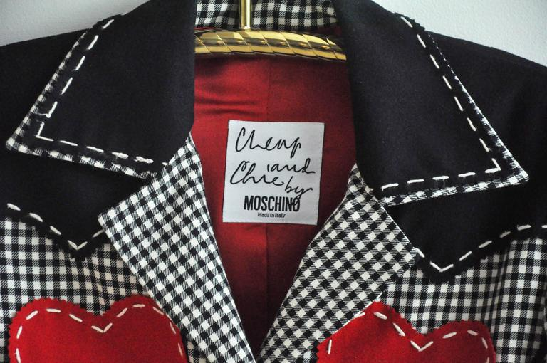 1990s Moschino Checkered Wool Jacket w/Double Red Hearts  8