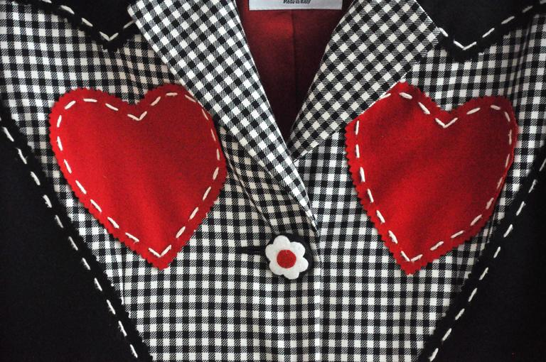 1990s Moschino Checkered Wool Jacket w/Double Red Hearts  2