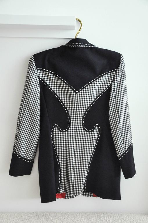 1990s Moschino Checkered Wool Jacket w/Double Red Hearts  6