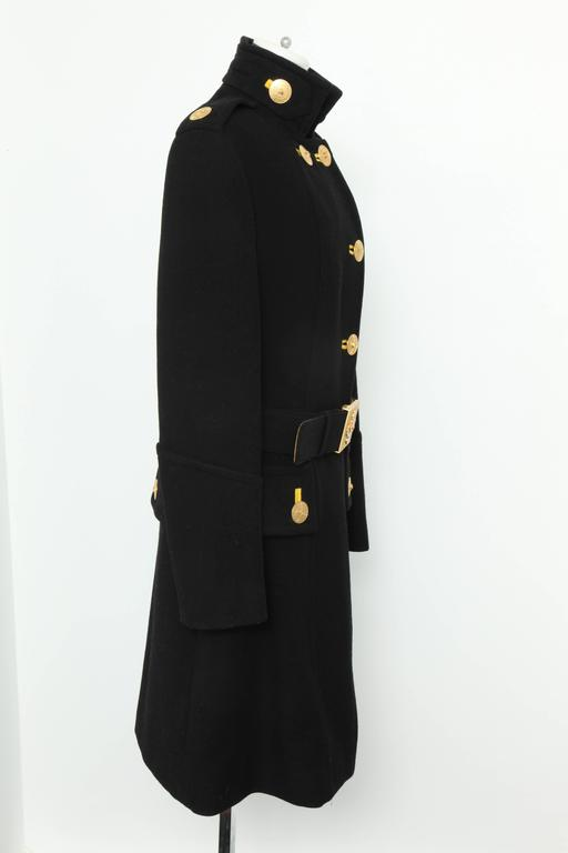 Versace Amazing Runway Black Military Coat with Medusas In Excellent Condition For Sale In New York, NY