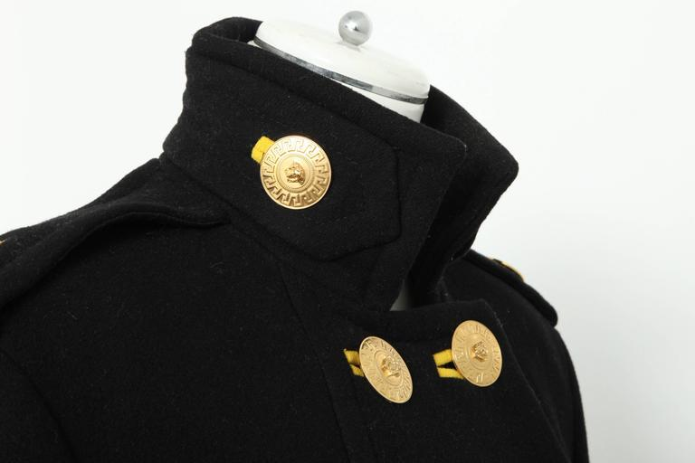 Women's Versace Amazing Runway Black Military Coat with Medusas For Sale