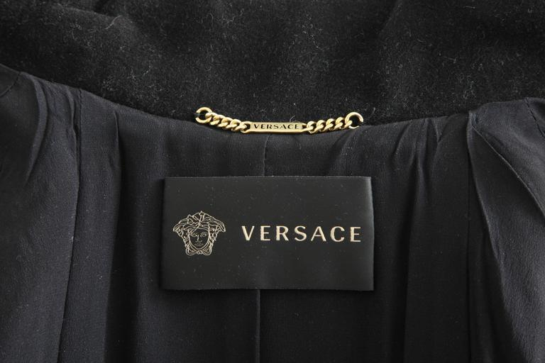 Versace Amazing Runway Black Military Coat with Medusas For Sale 5