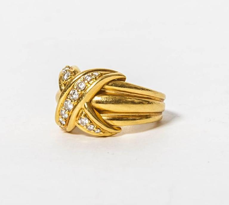 Tiffany and Co. Diamond Gold Signature X Kiss Ring at 1stdibs