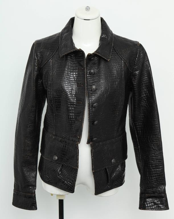 Chanel Rare Croc Embossed Vegan Leather Jacket As Seen On Runway 2