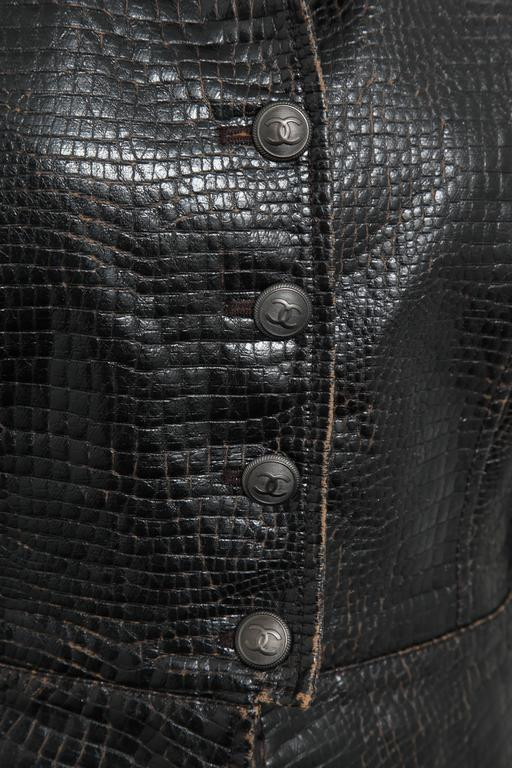 Chanel Rare Croc Embossed Vegan Leather Jacket As Seen On Runway 3
