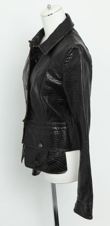 Chanel Rare Croc Embossed Vegan Leather Jacket As Seen On Runway 4