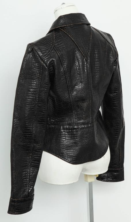 Chanel Rare Croc Embossed Vegan Leather Jacket As Seen On Runway 5