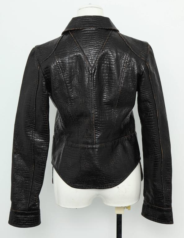 Chanel Rare Croc Embossed Vegan Leather Jacket As Seen On Runway 6