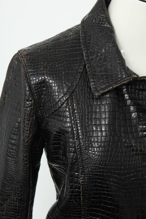 Chanel Rare Croc Embossed Vegan Leather Jacket As Seen On Runway 7