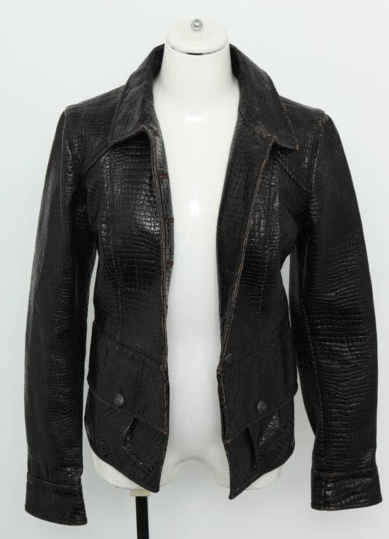 Chanel Rare Croc Embossed Vegan Leather Jacket As Seen On Runway 8