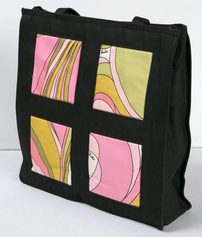 Unique Pucci 'find' in never used condition. the tote features 4 quadrants on each side boasting different Pucci prints. prerequisite 'Emilio' signatures in motifs. sturdy textile surround. Ready-to-wear: by day, by night, by beach, by where-ever.
