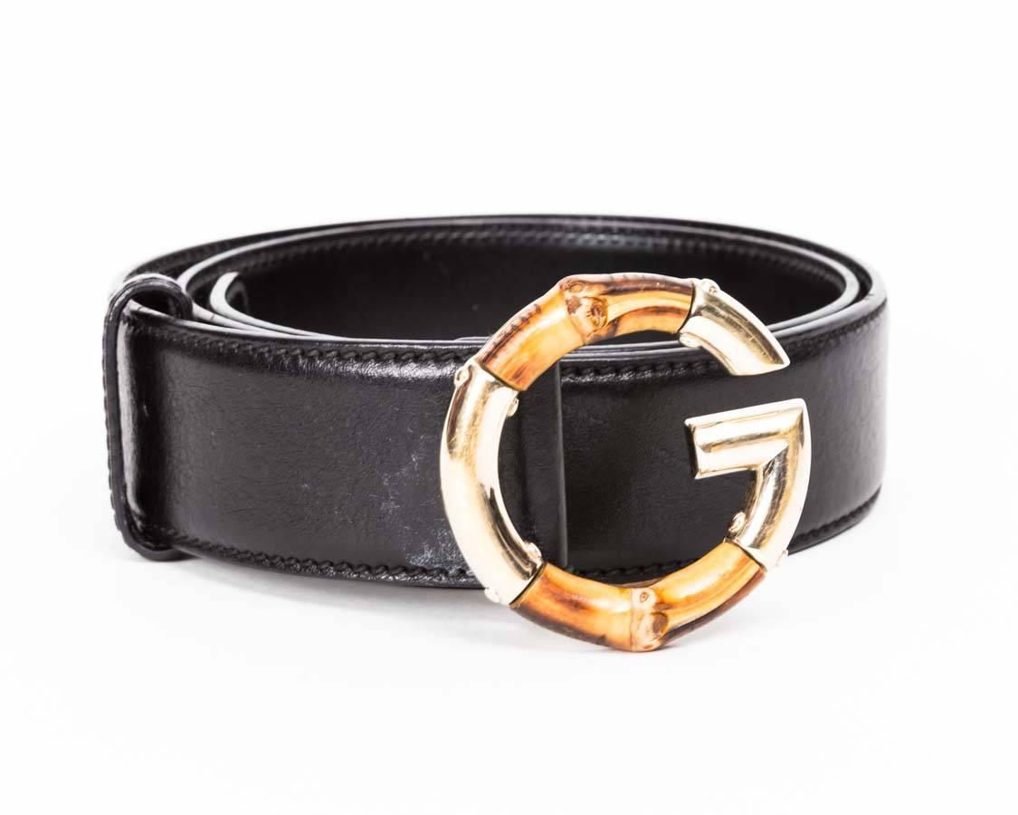 gucci black leather bamboo quotgquot buckle belt at 1stdibs