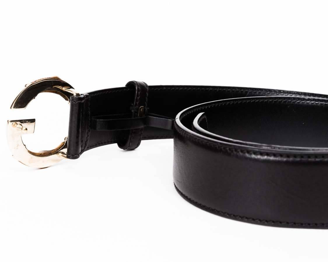 gucci black leather bamboo quot g quot buckle belt at 1stdibs