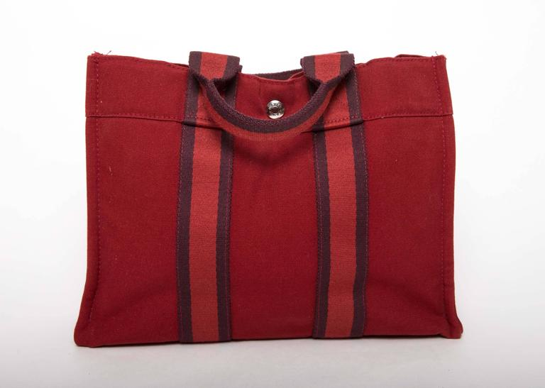 Hermes Navy Red and Navy Canvas Fourre Tout PM Tote Bag 2