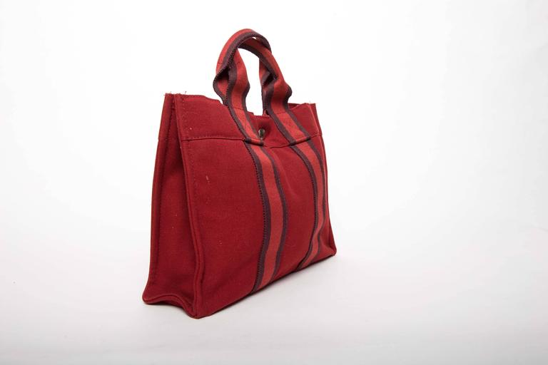 Hermes Navy Red and Navy Canvas Fourre Tout PM Tote Bag 3