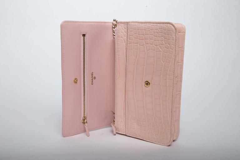 Beige Chanel Wallet on a Chain in Blush Pink Alligator For Sale