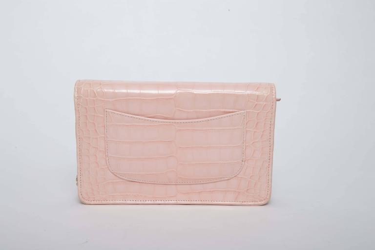 Chanel Wallet on a Chain in Blush Pink Alligator 6