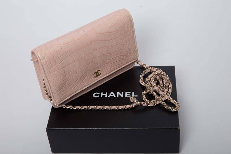 Chanel Wallet on a Chain in Blush Pink Alligator 7