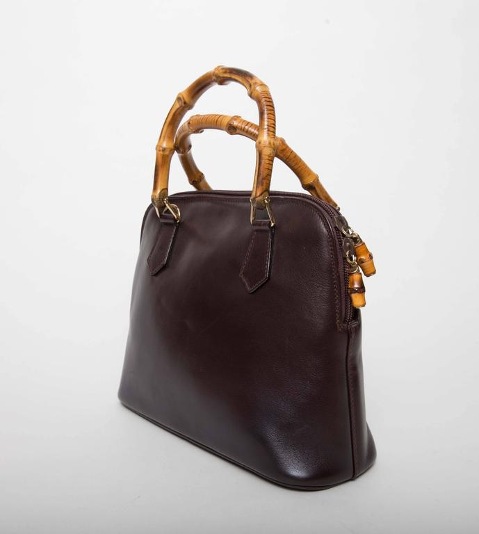 Gucci Vintage Alma Tote In Dark Brown Leather With Bamboo Handles Good Condition For