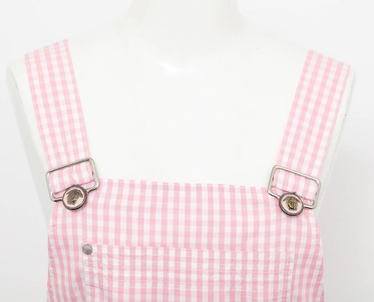 Versace Jeans Couture Pink Plaid Overall Dress with Medusas 2