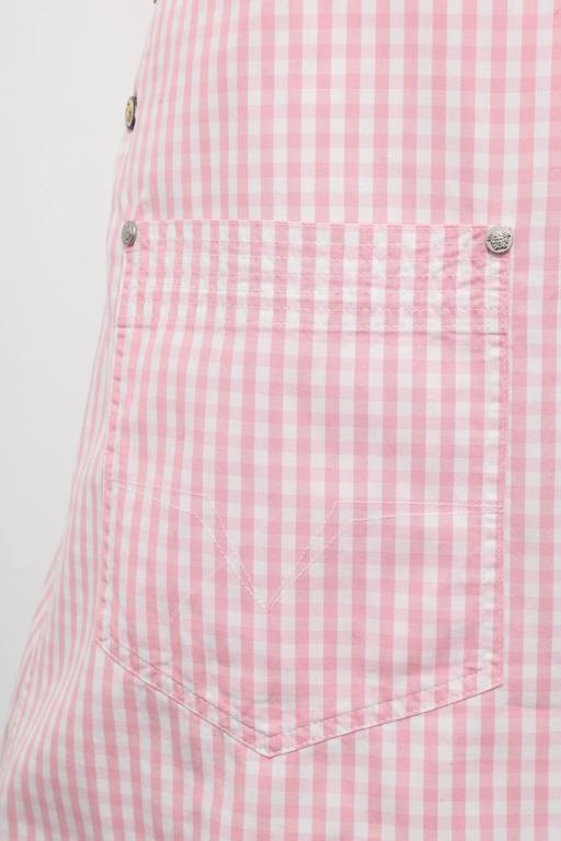Versace Jeans Couture Pink Plaid Overall Dress with Medusas 3