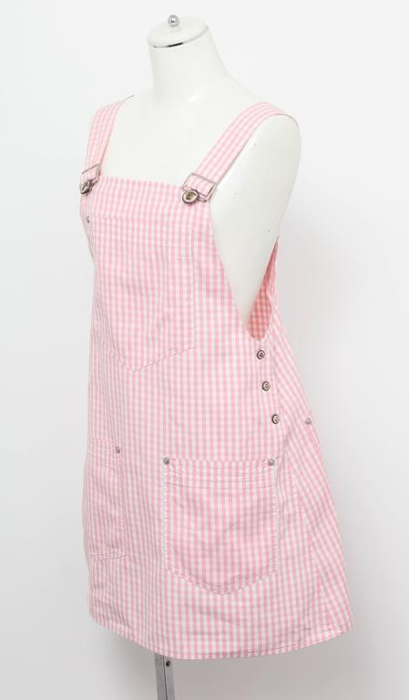 Versace Jeans Couture Pink Plaid Overall Dress with Medusas 4