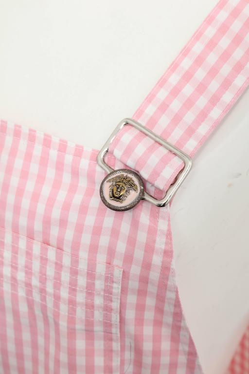 Versace Jeans Couture Pink Plaid Overall Dress with Medusas 6